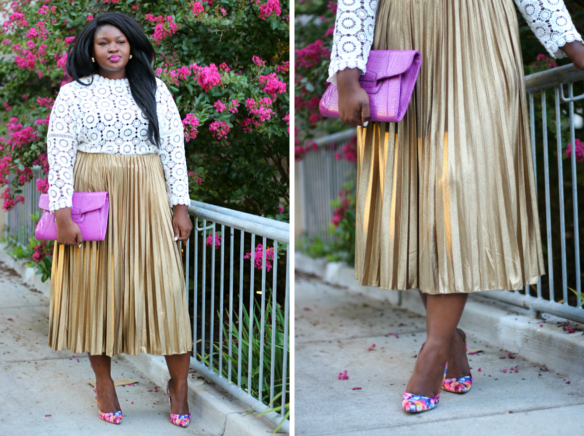 simply be metallic pleat skirt floral pumps outfit