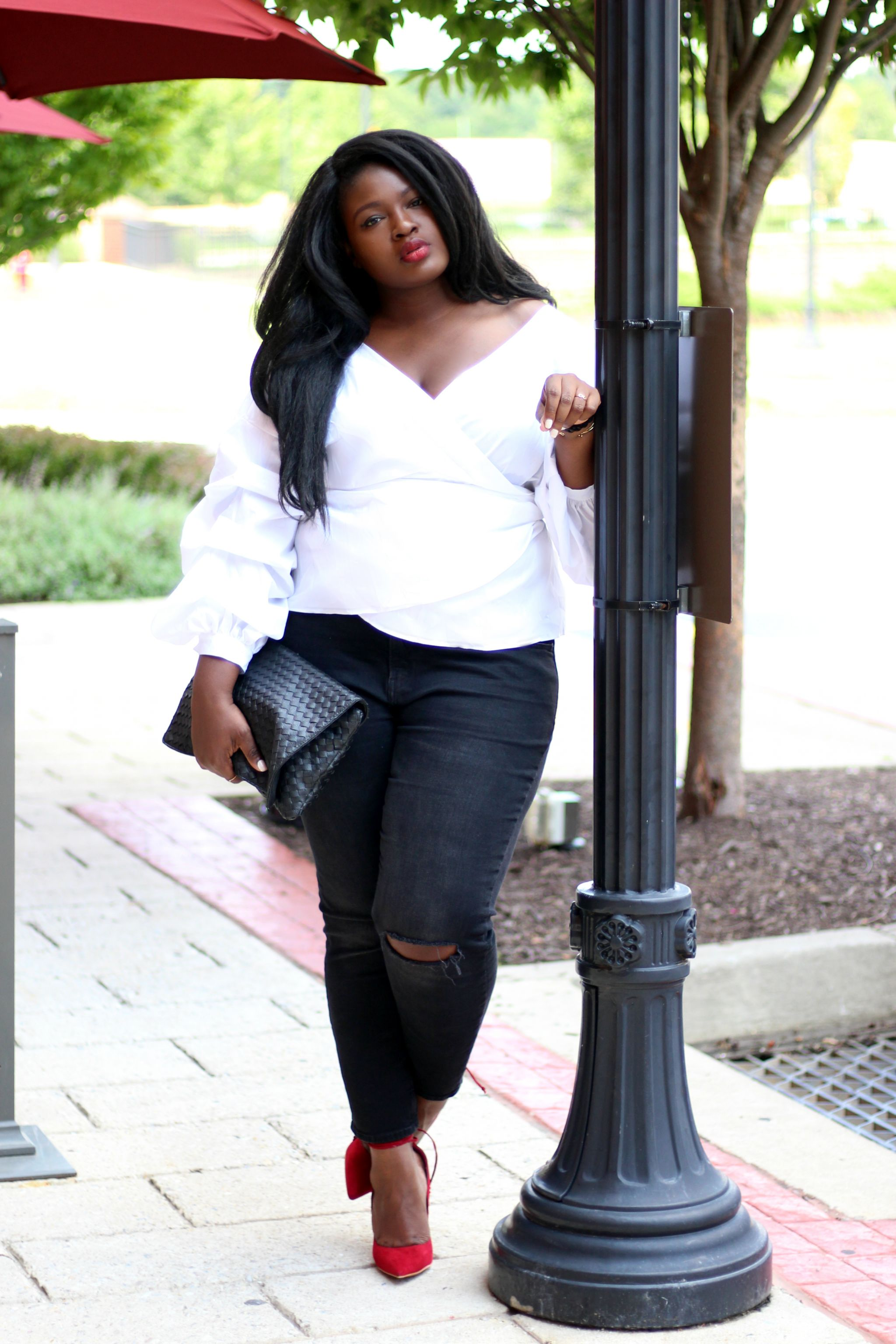 fashion nova curve wrap top and distressed black jeans red shoe plus size outfit