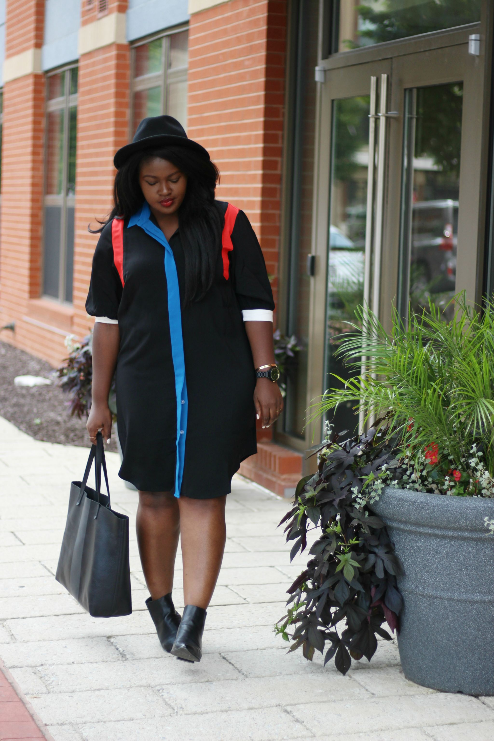 shirt dress and boots plus II size fall outfit