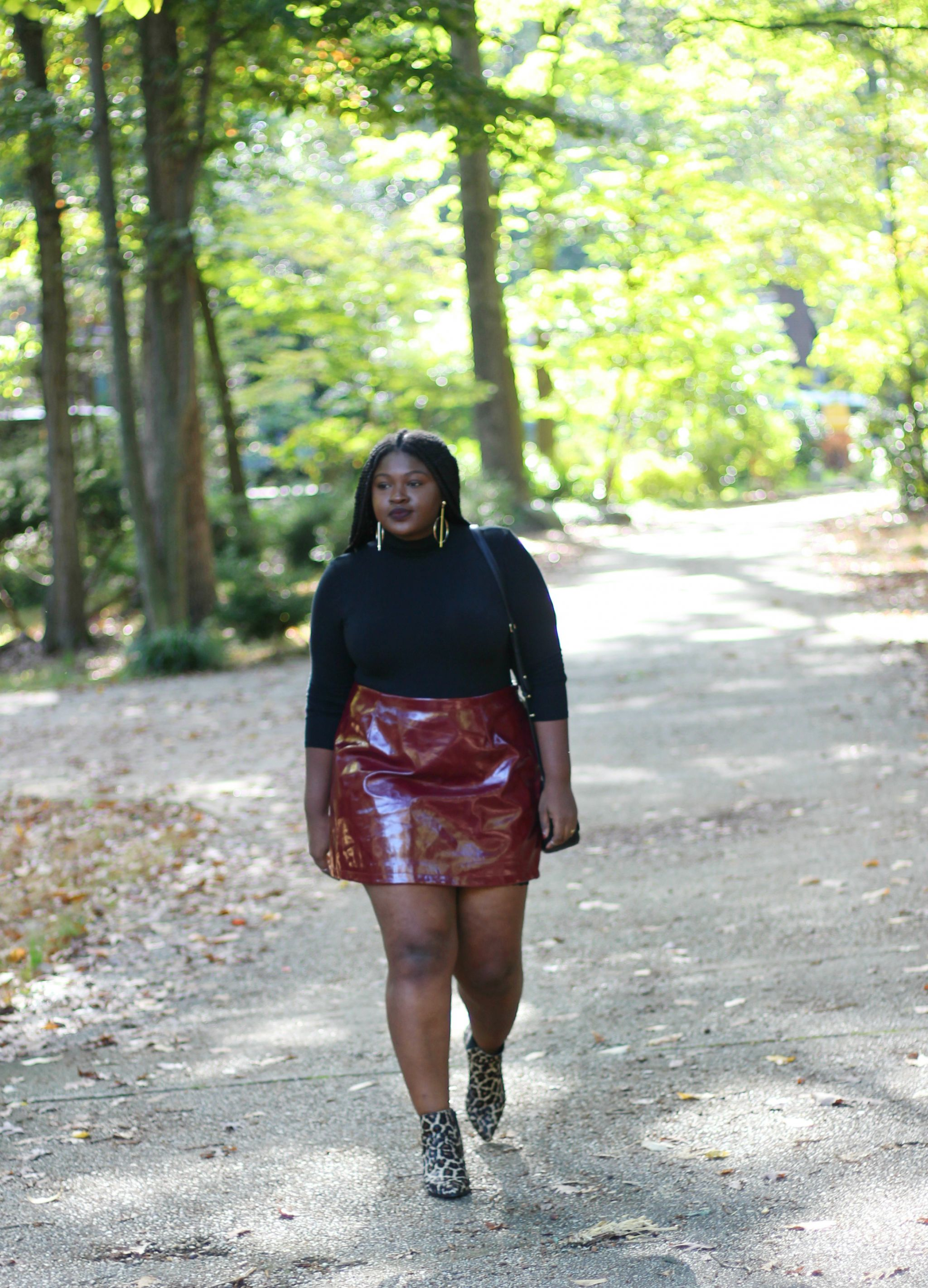 vinyl skirt fall outfit