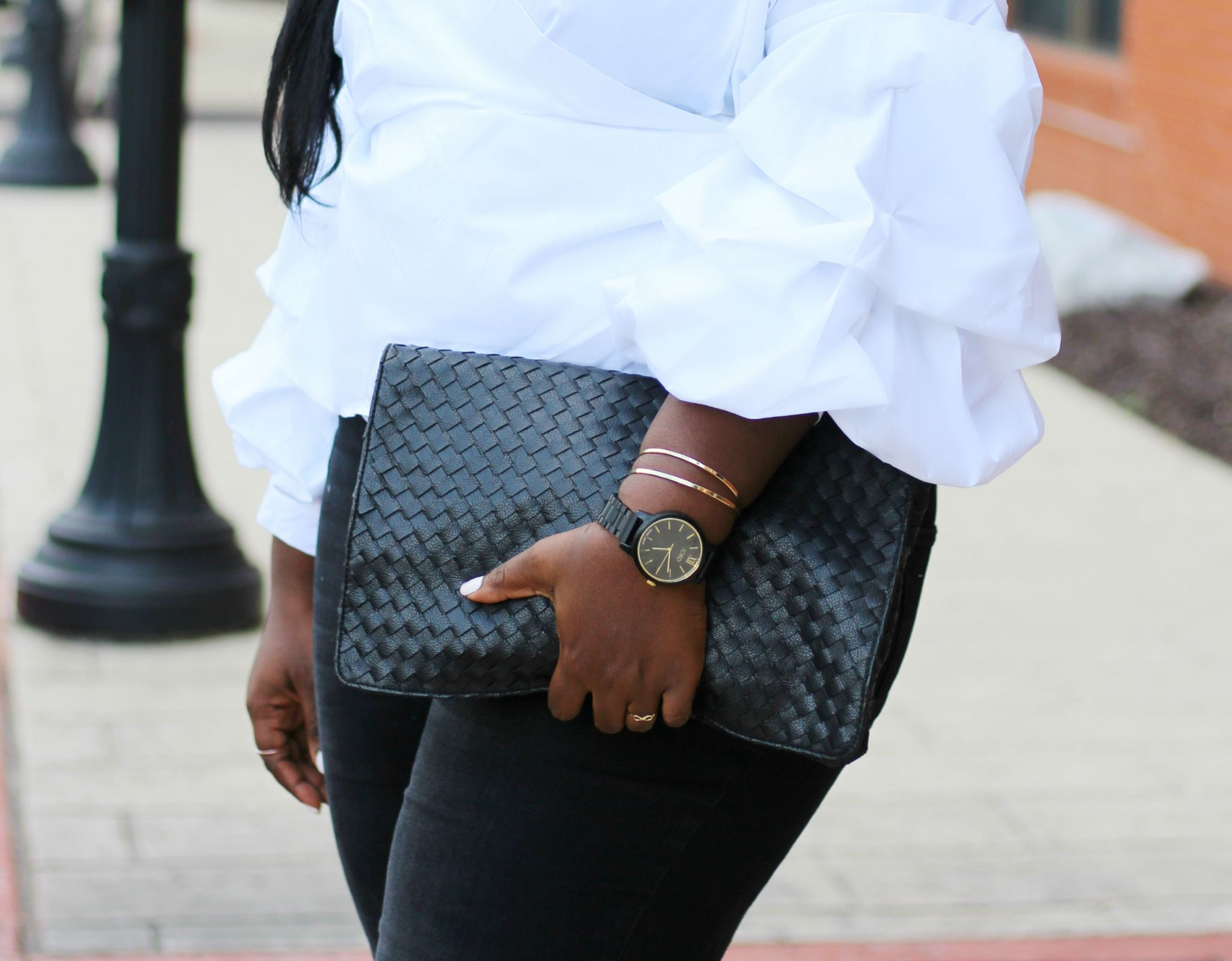 wrap top black clutch plus size outfit