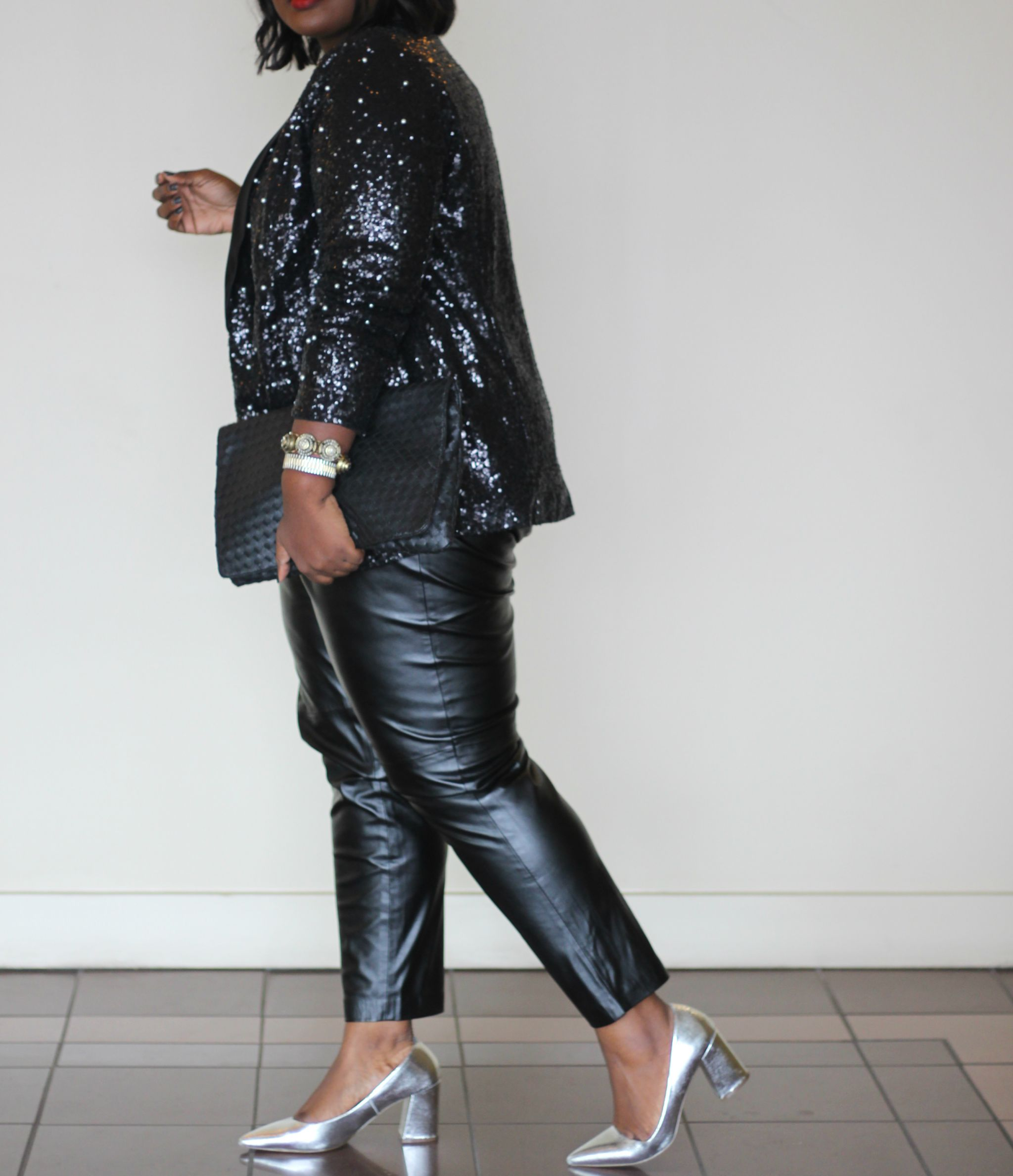 sequin and pearl jacket festive plus size outfit