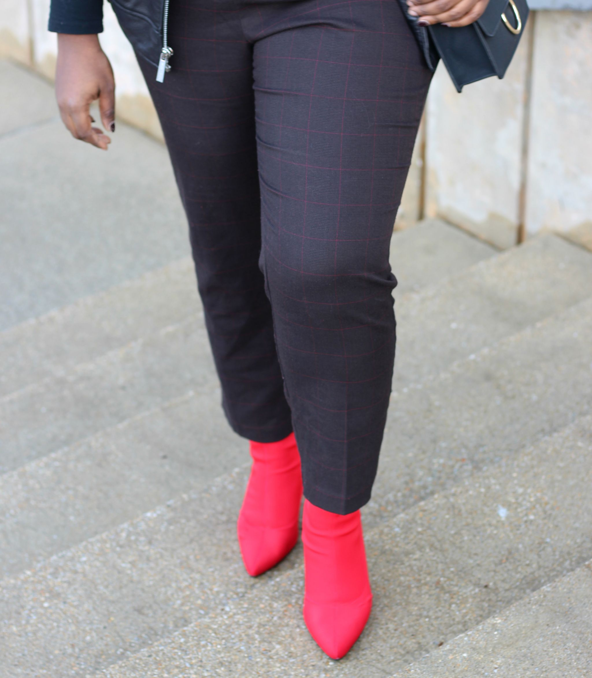 check pants eloquii red boots outfit