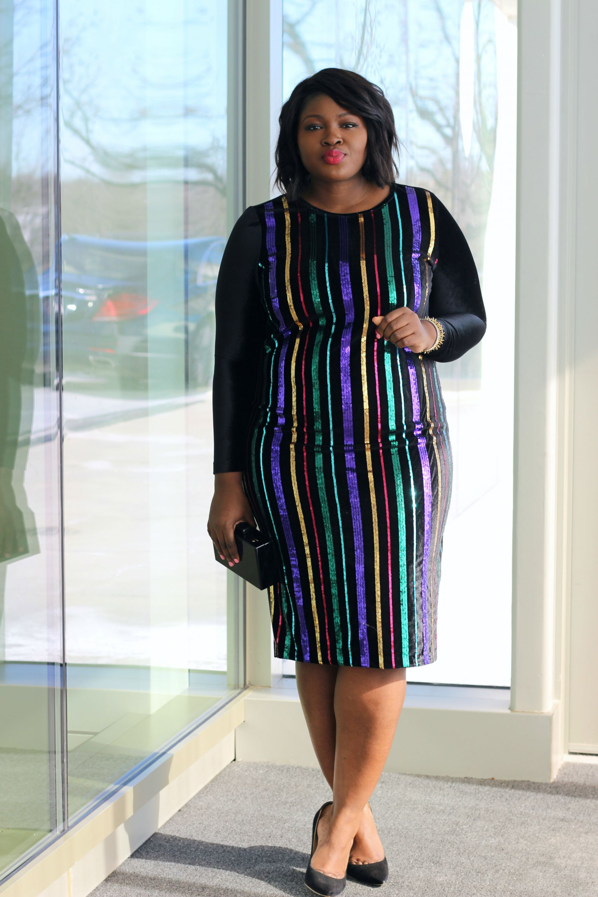 eloquii rainbow sequin dress outfit