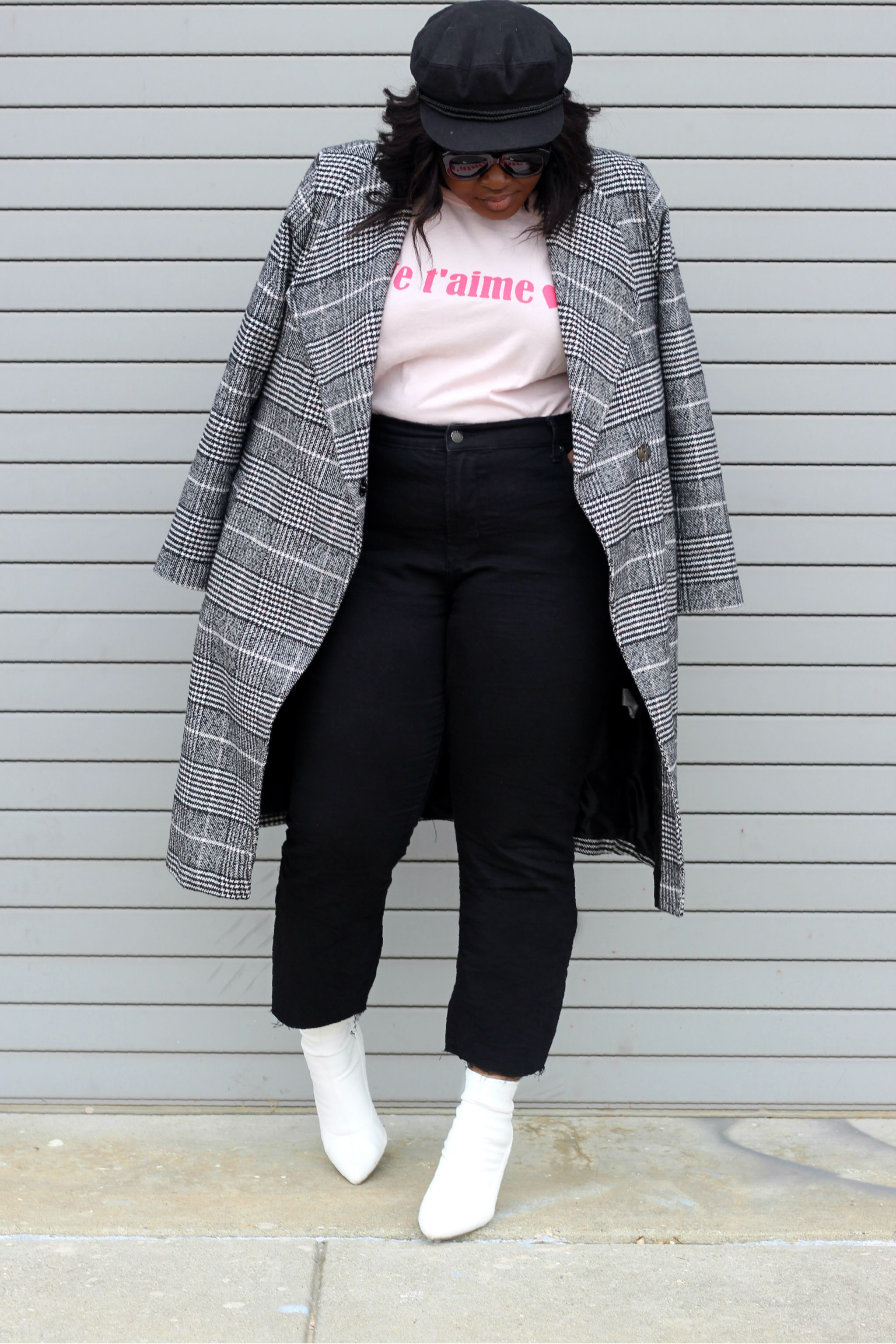 plaid coat outfit valentines day