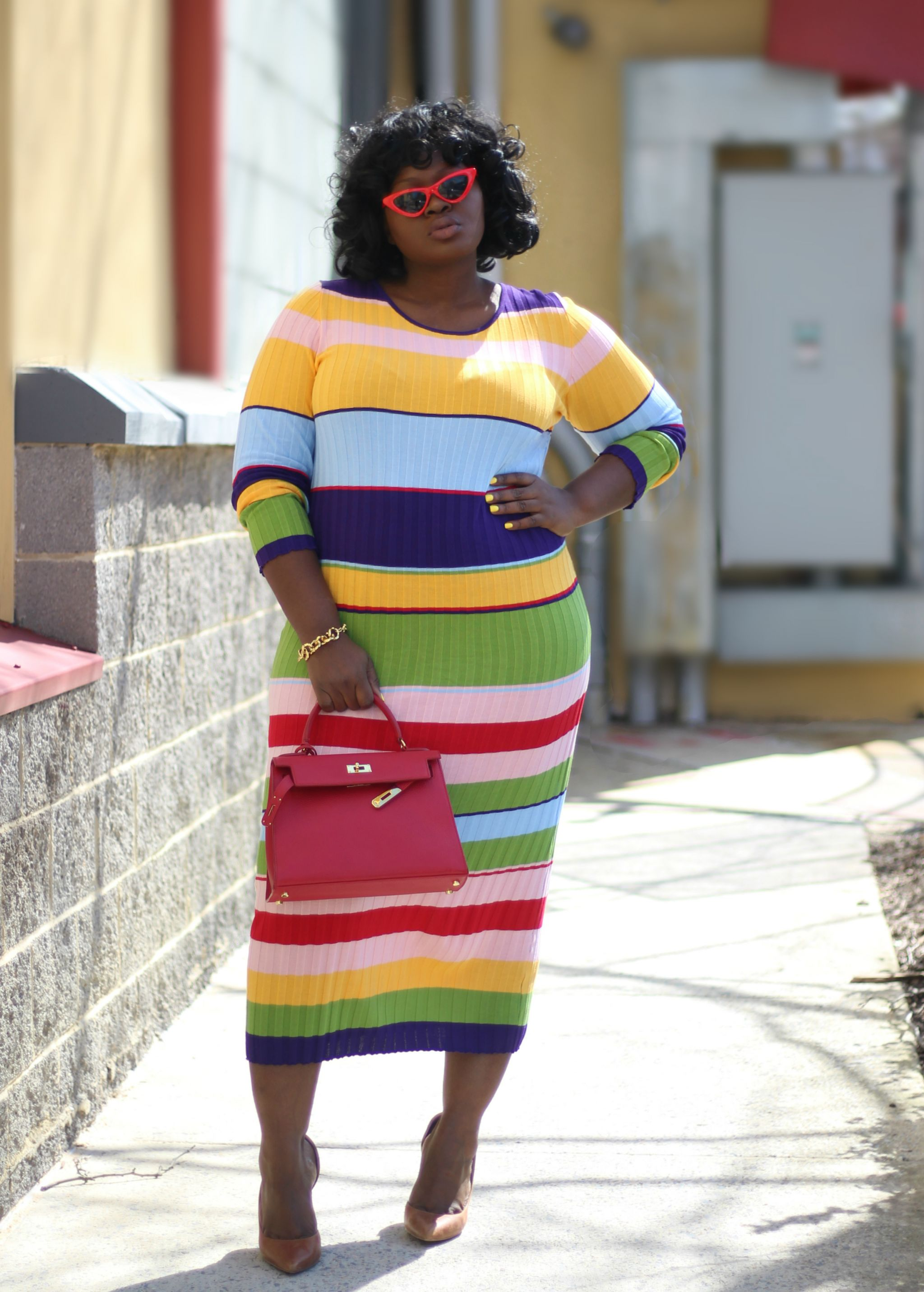 WORLD OF COLOR STRIPE spring fashion nova CURVE DRESS X Supplechic