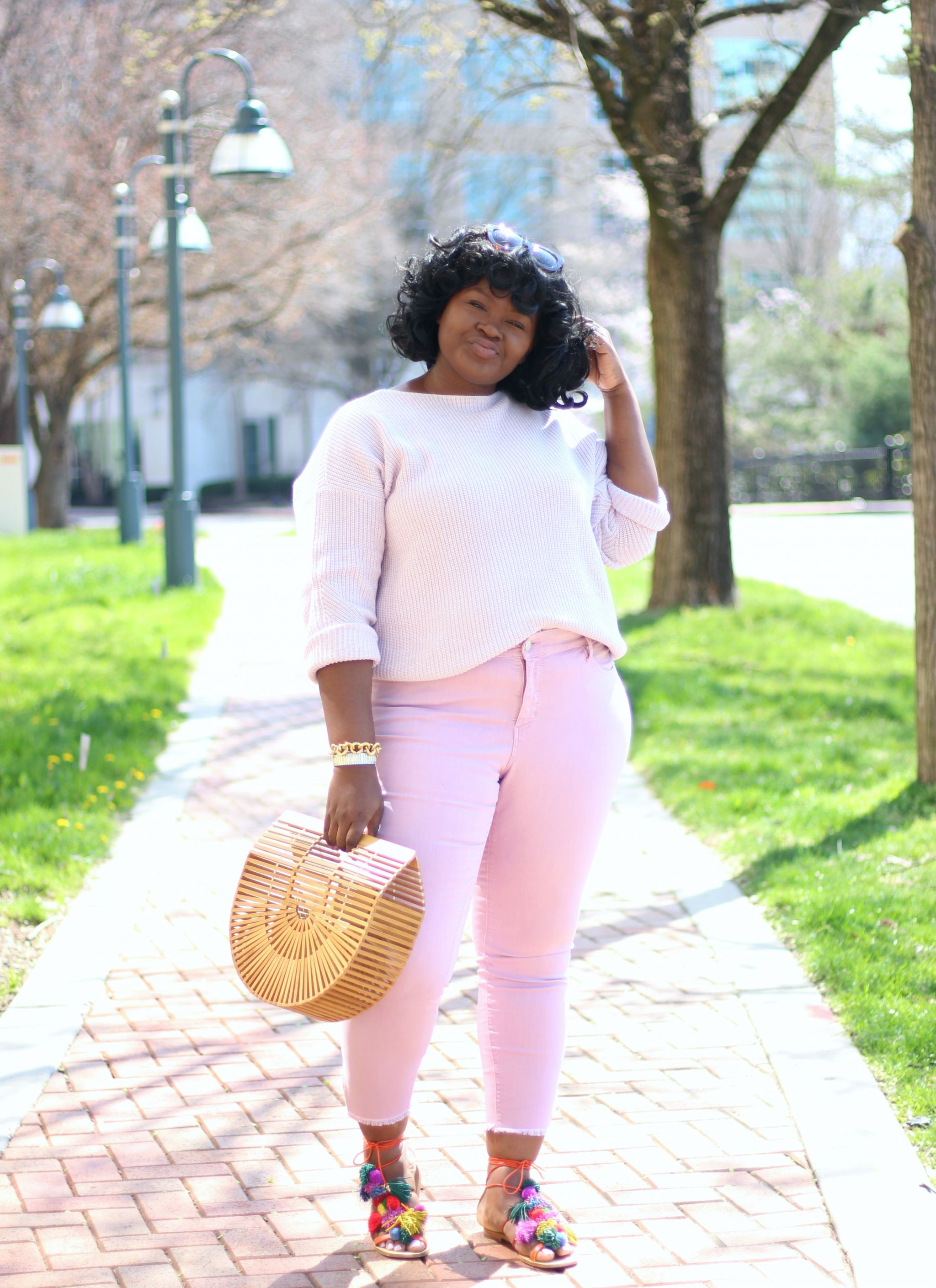 LOFT Plus Slit Skinny jeans in Lush Lilac outfit