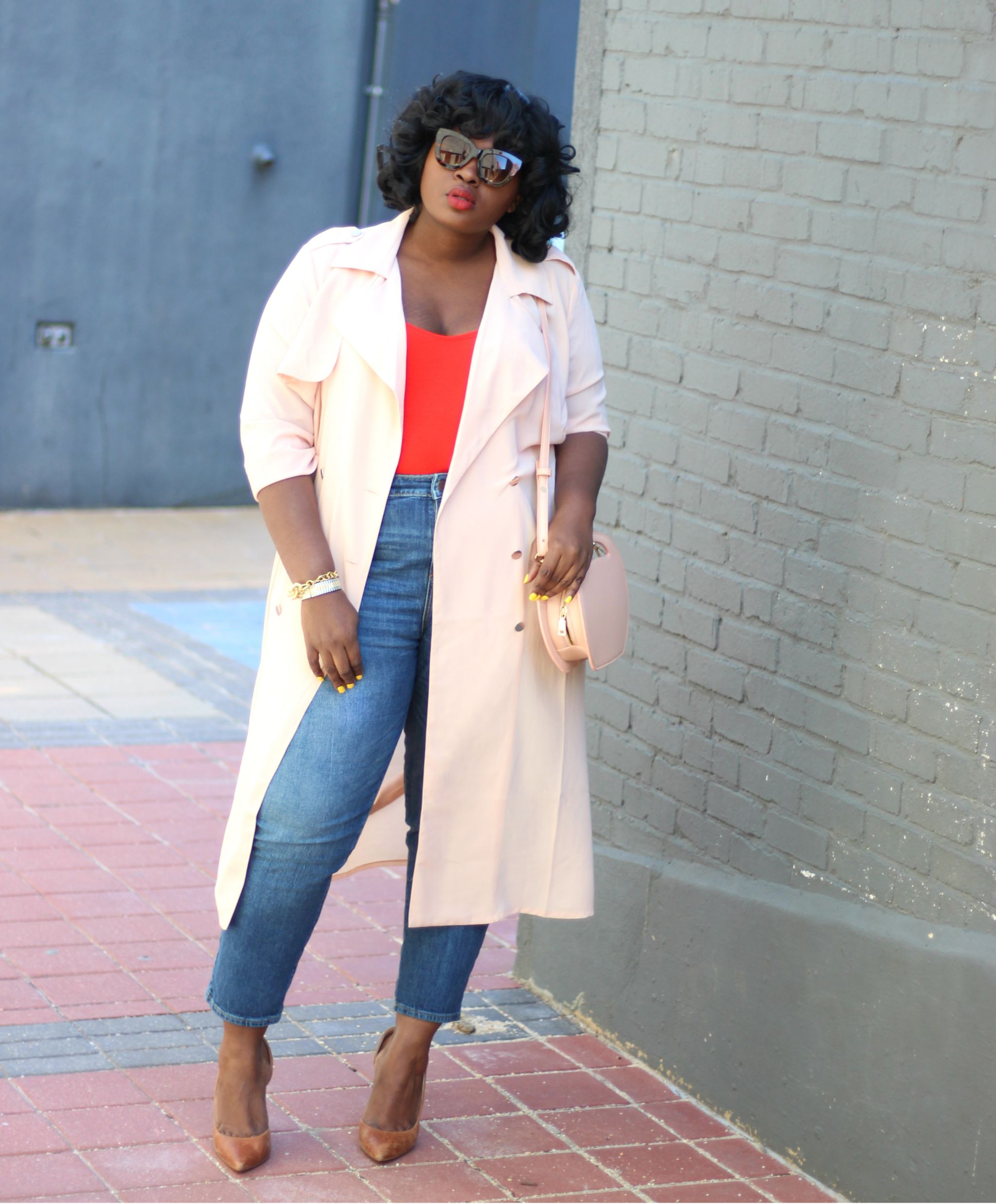 forever 21 plus chiffon trench coat outfit