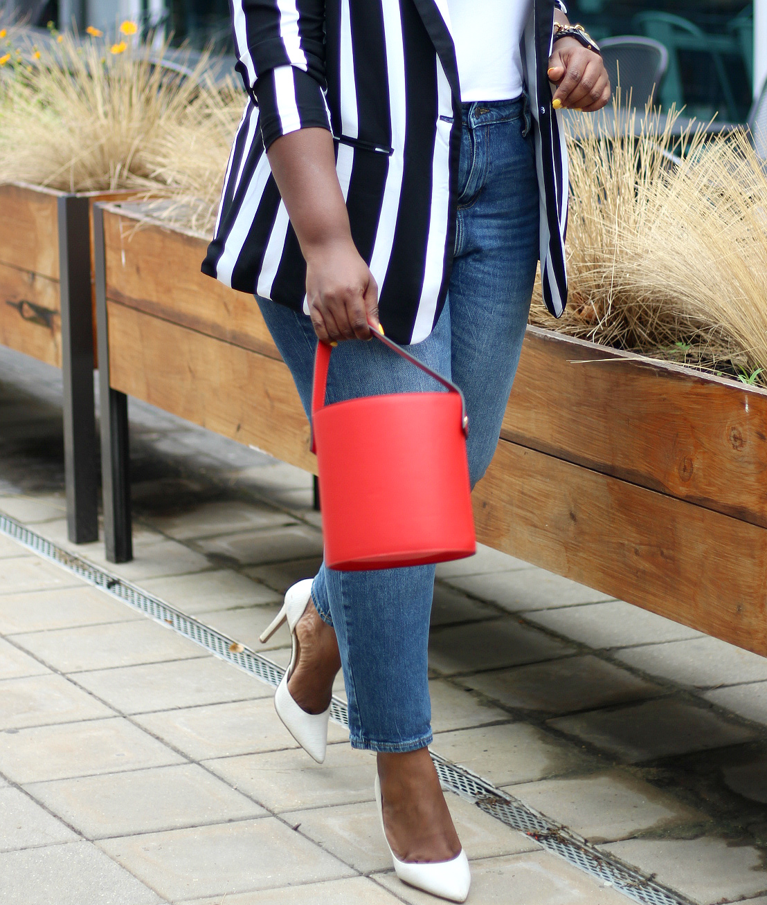 stripe blazer and jean look
