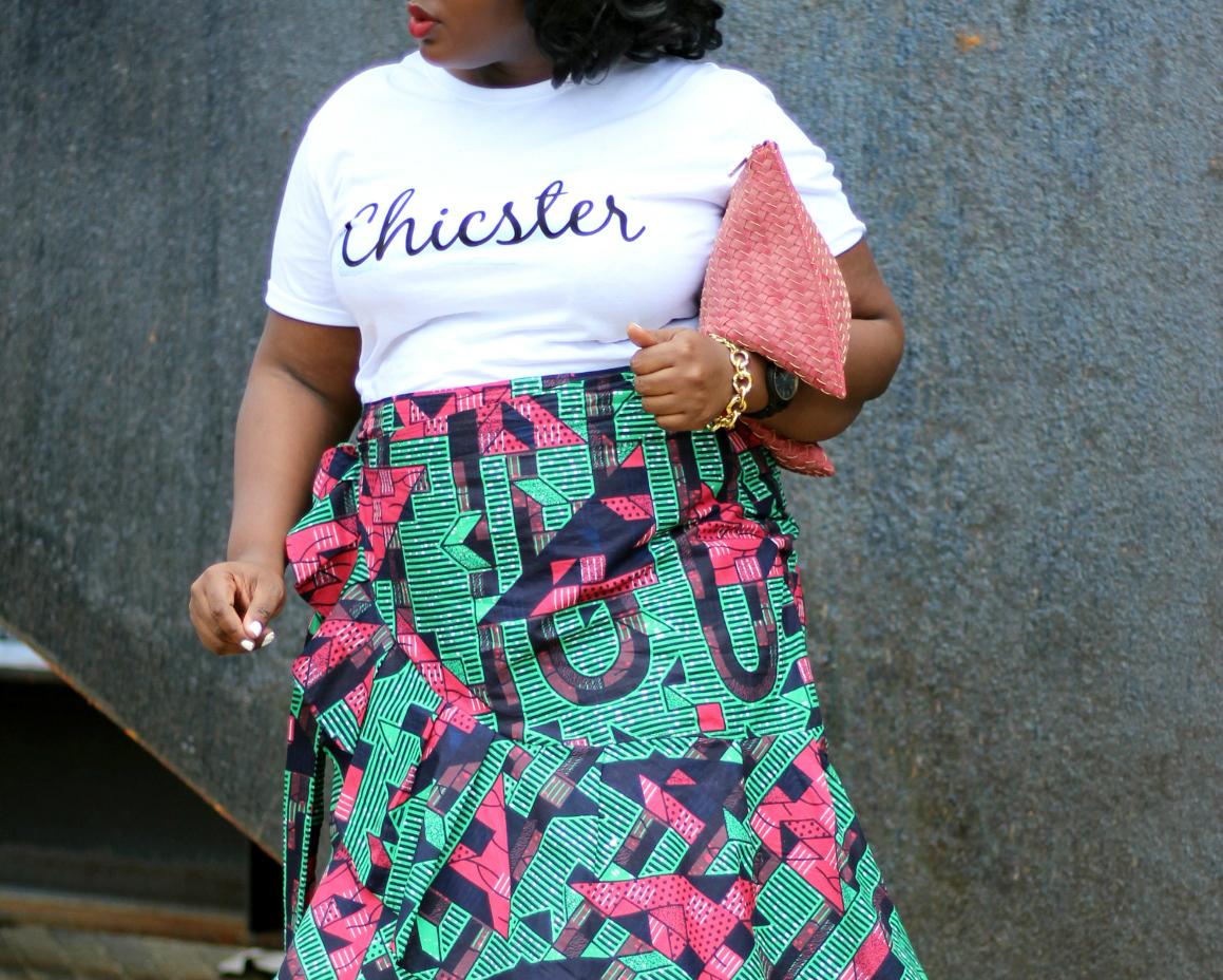 ruffle ankara summer skirt chicster tee outfit I
