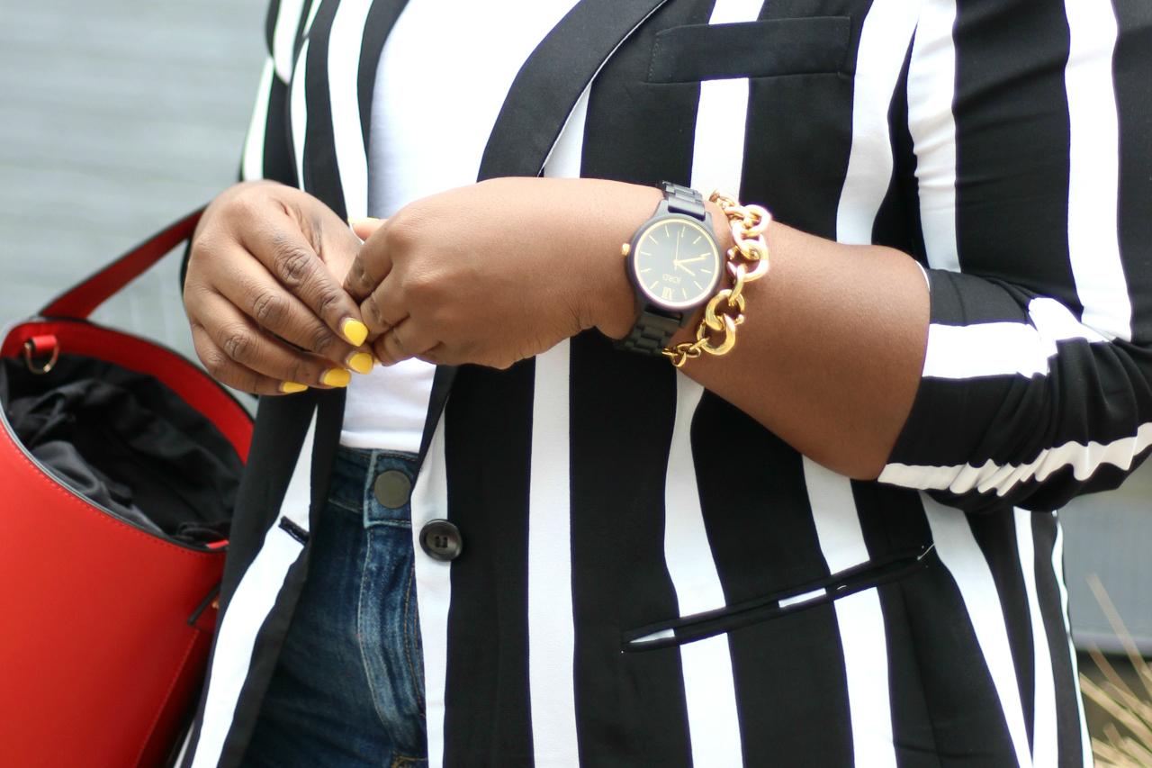 summer look stripe blazer