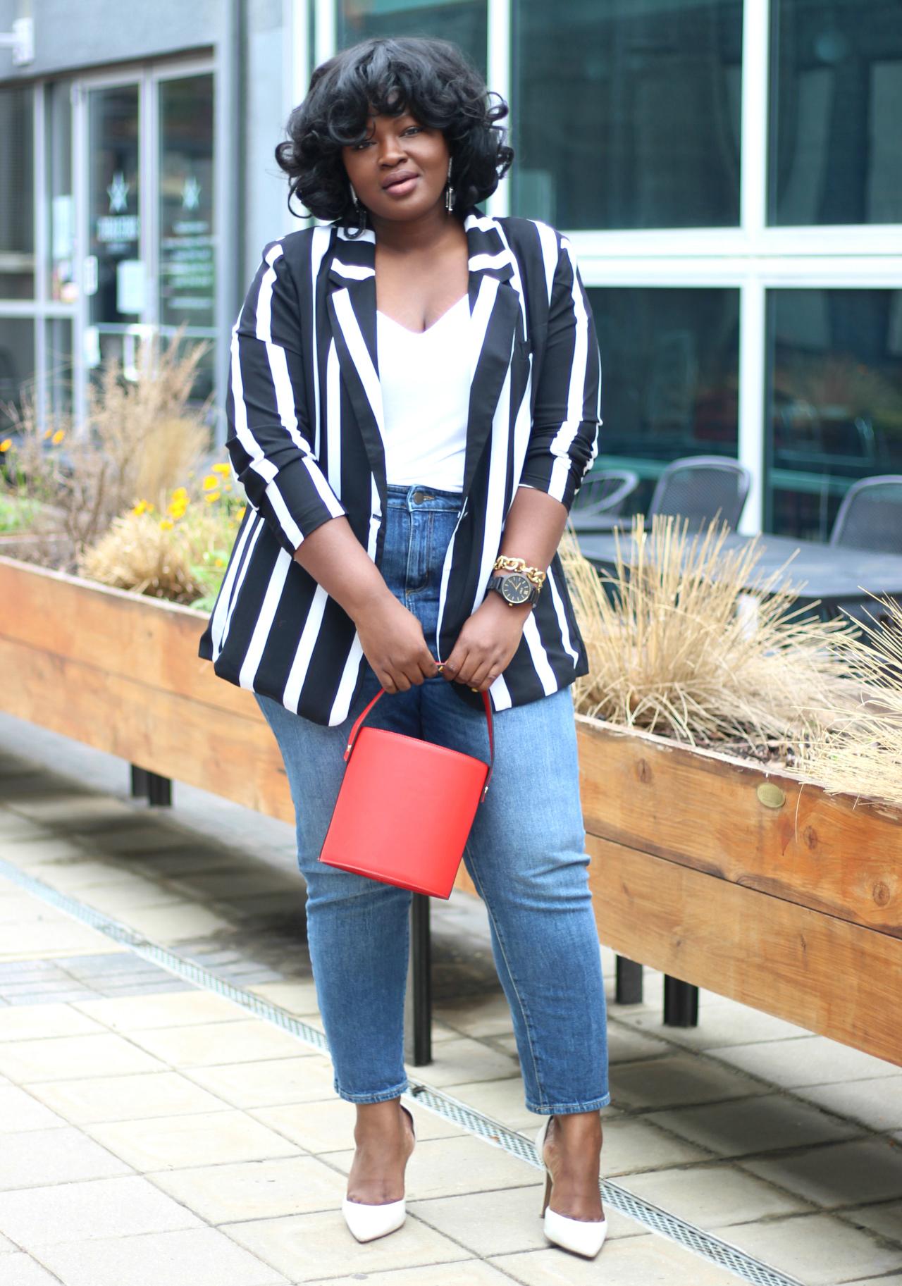 summer outfit stripe blazer
