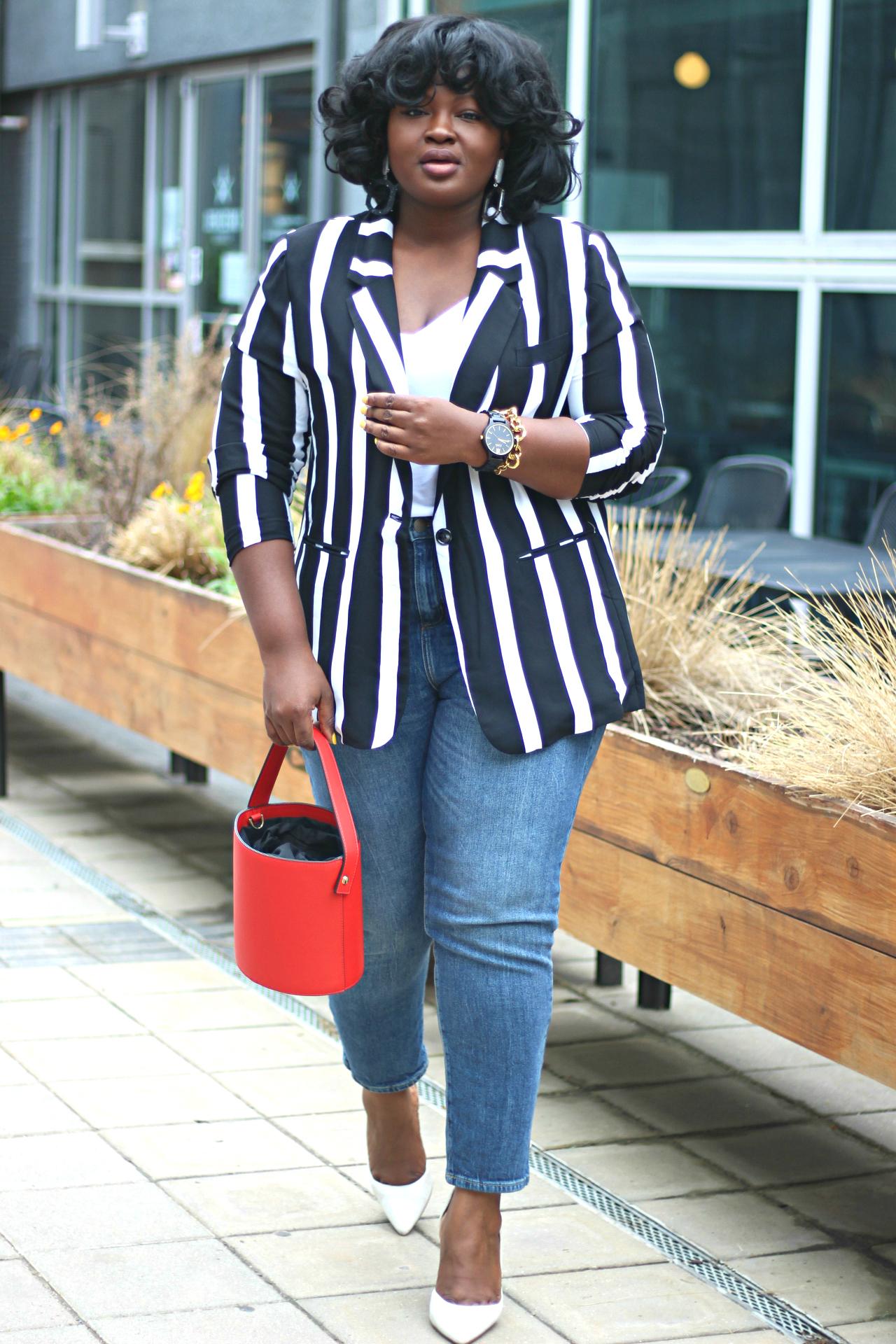 stripe summer blazer outfit