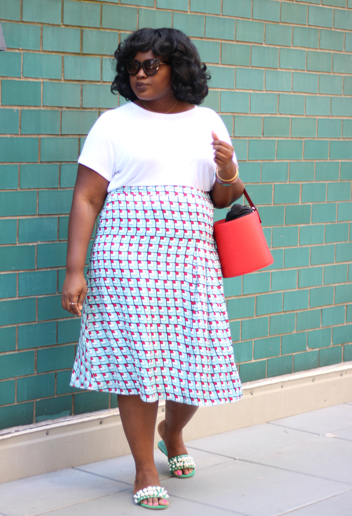 Pleat Midi Skirt HALOGEN plus outfit