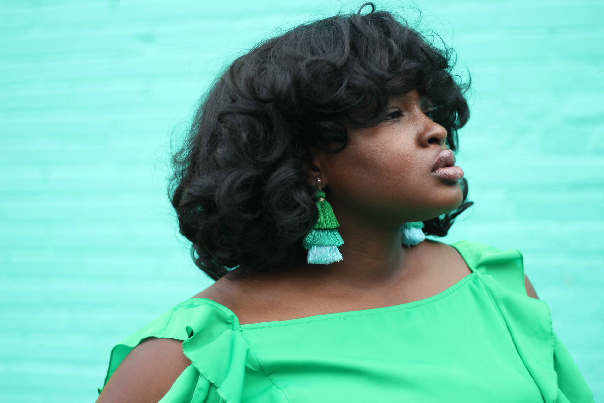 asos curve dress green statement earrings