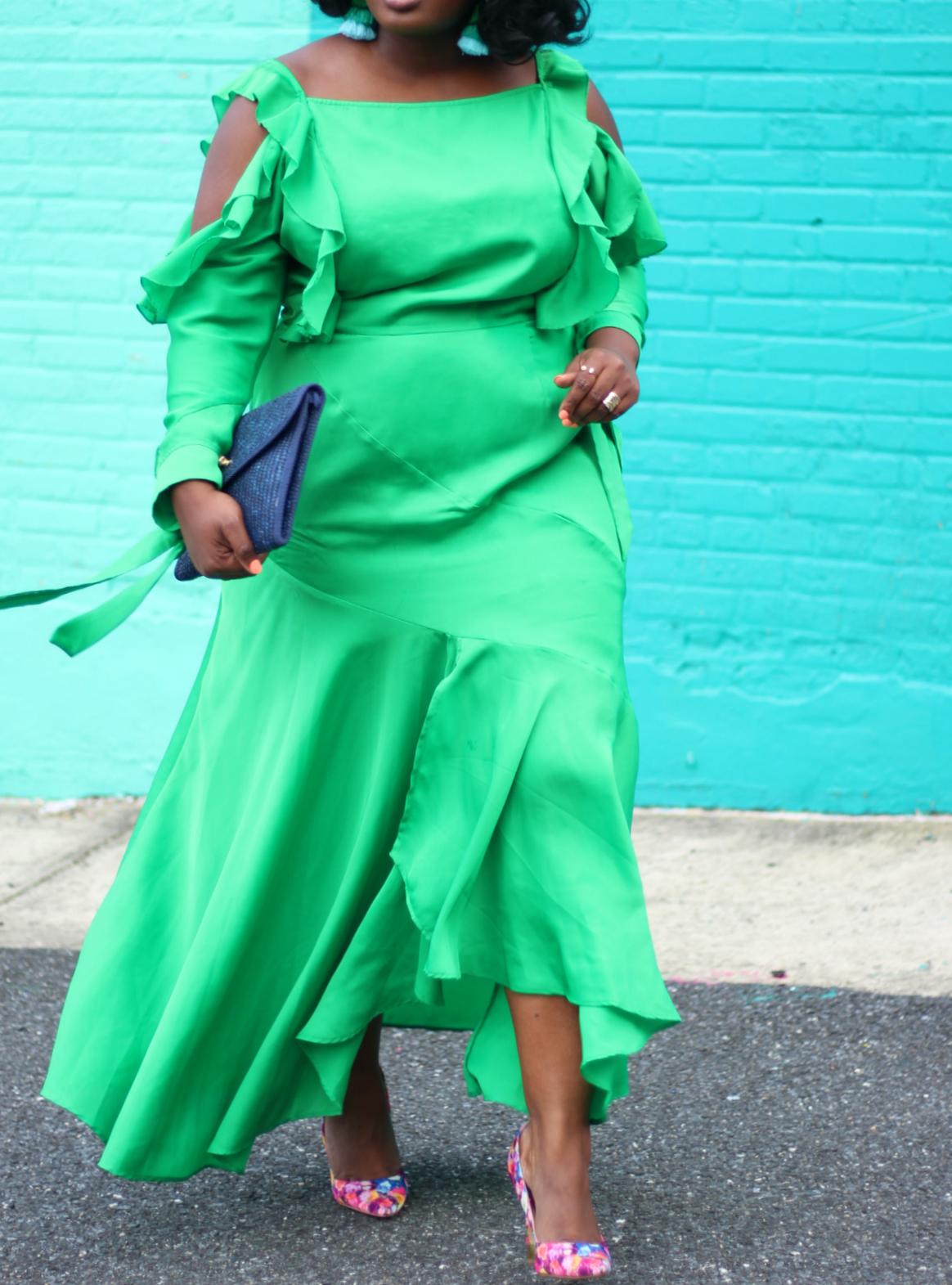 asos curve green dress floral pumps