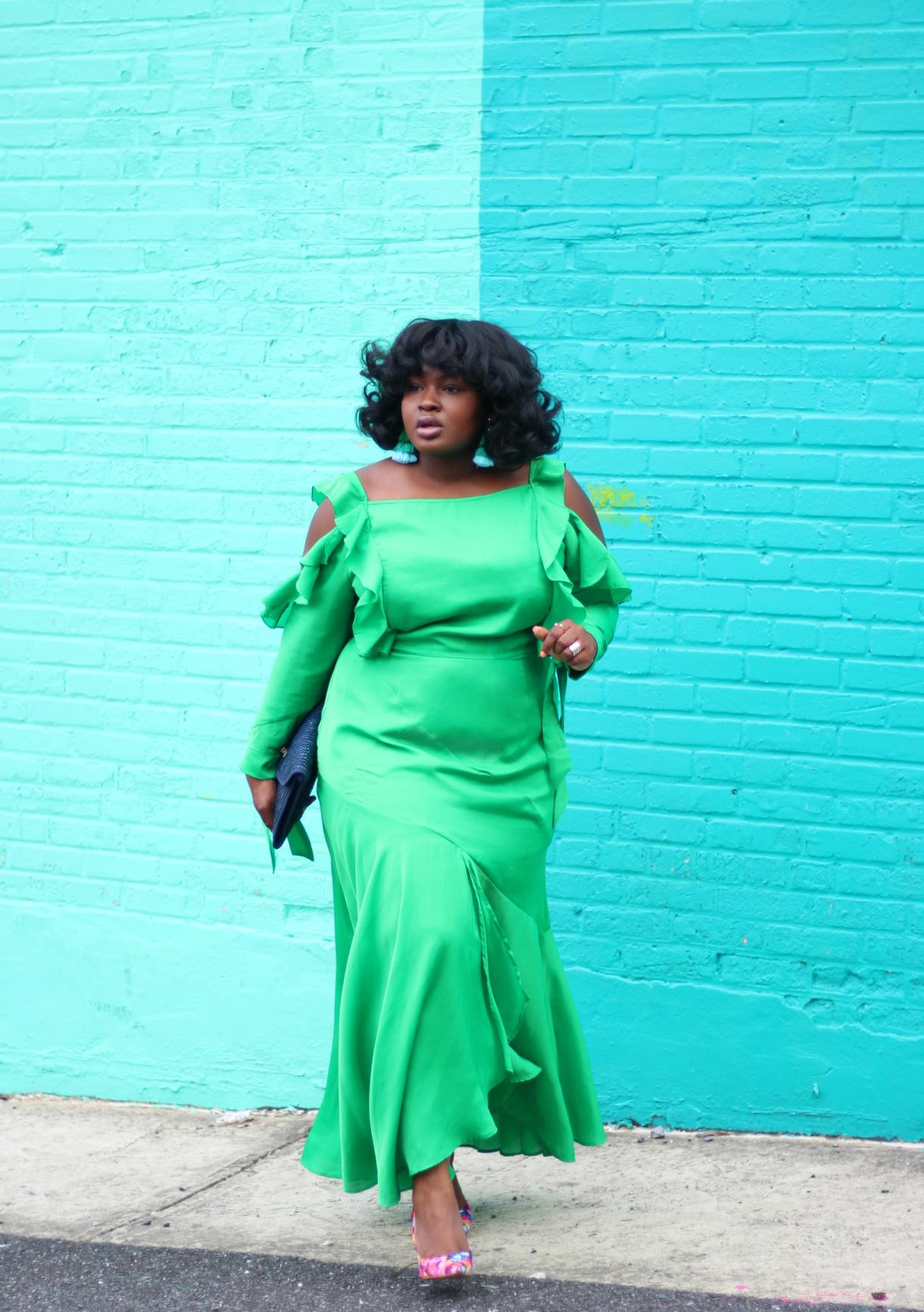asos curve green split hem dress and floral pumps