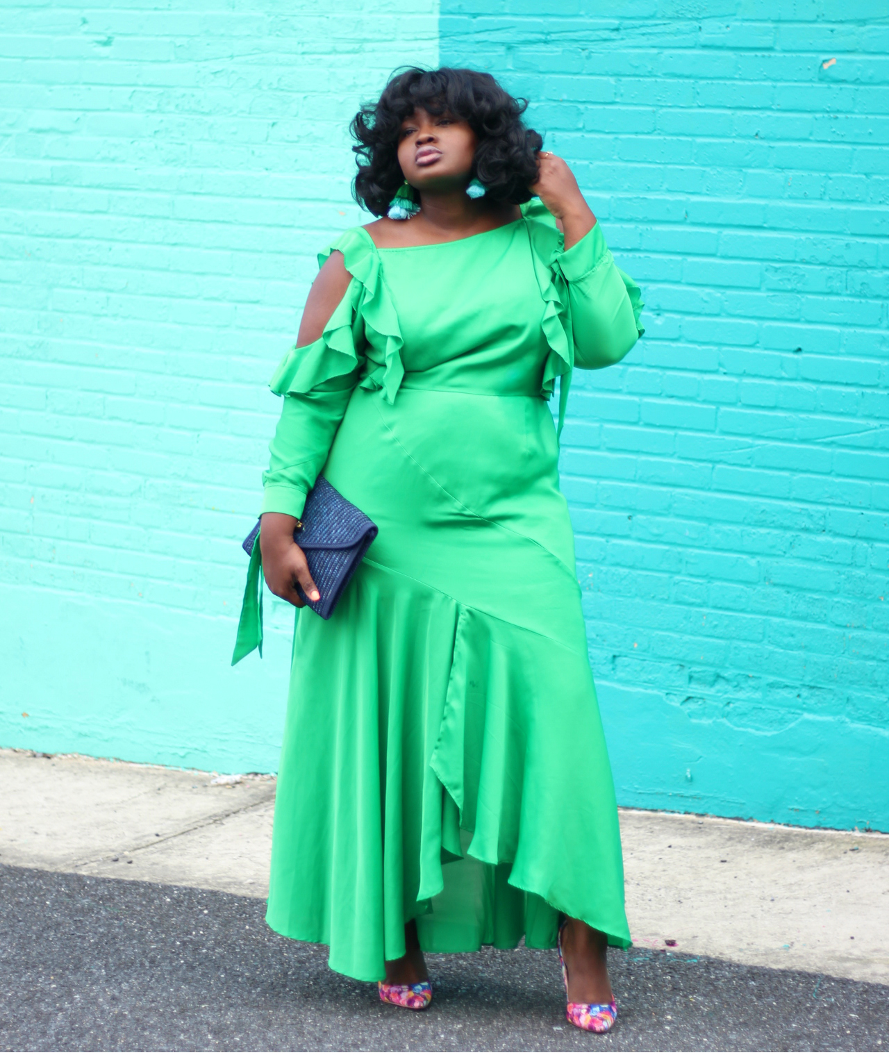 asos curve ruffle green dress and floral pumps