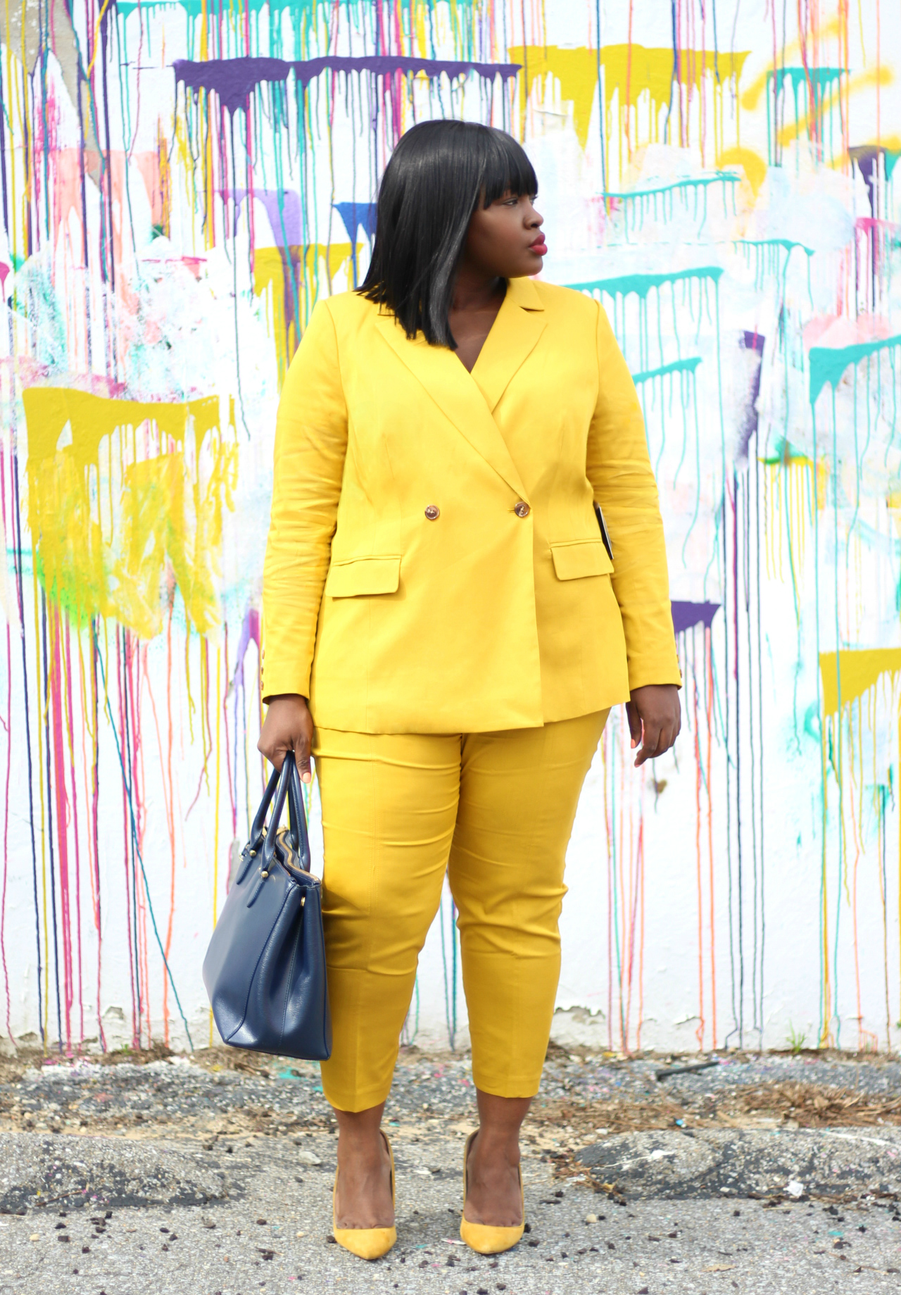 mustard suit plus size summer outfit