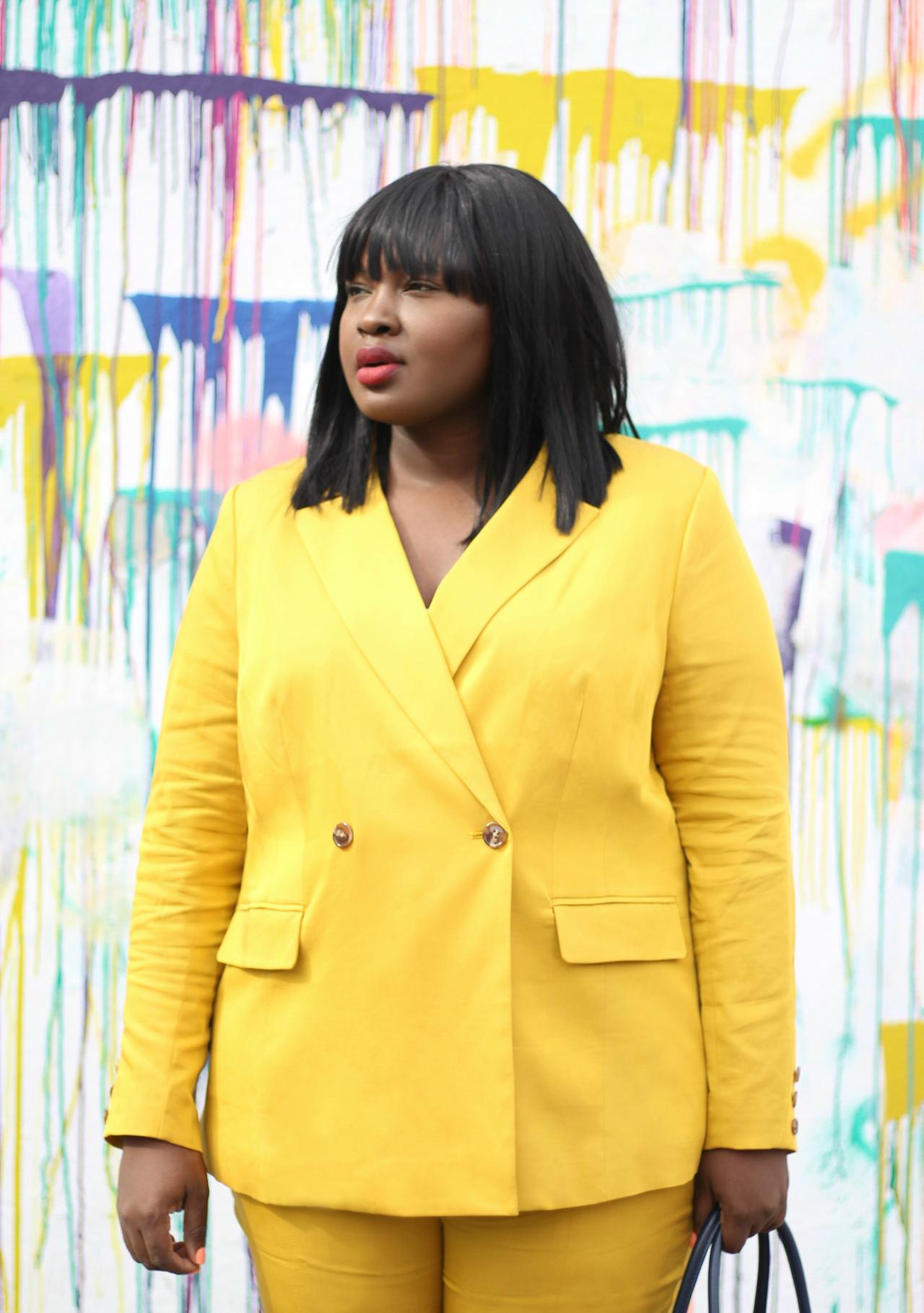 mustard suit plus size
