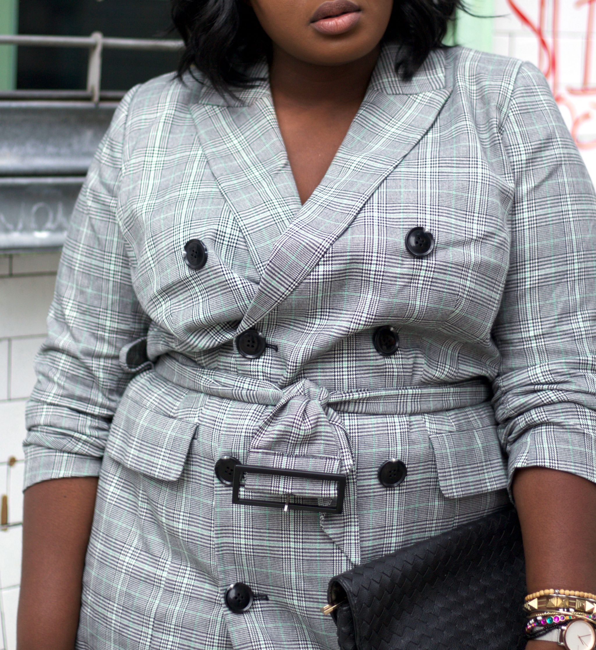 Plaid blazer dress NYFW