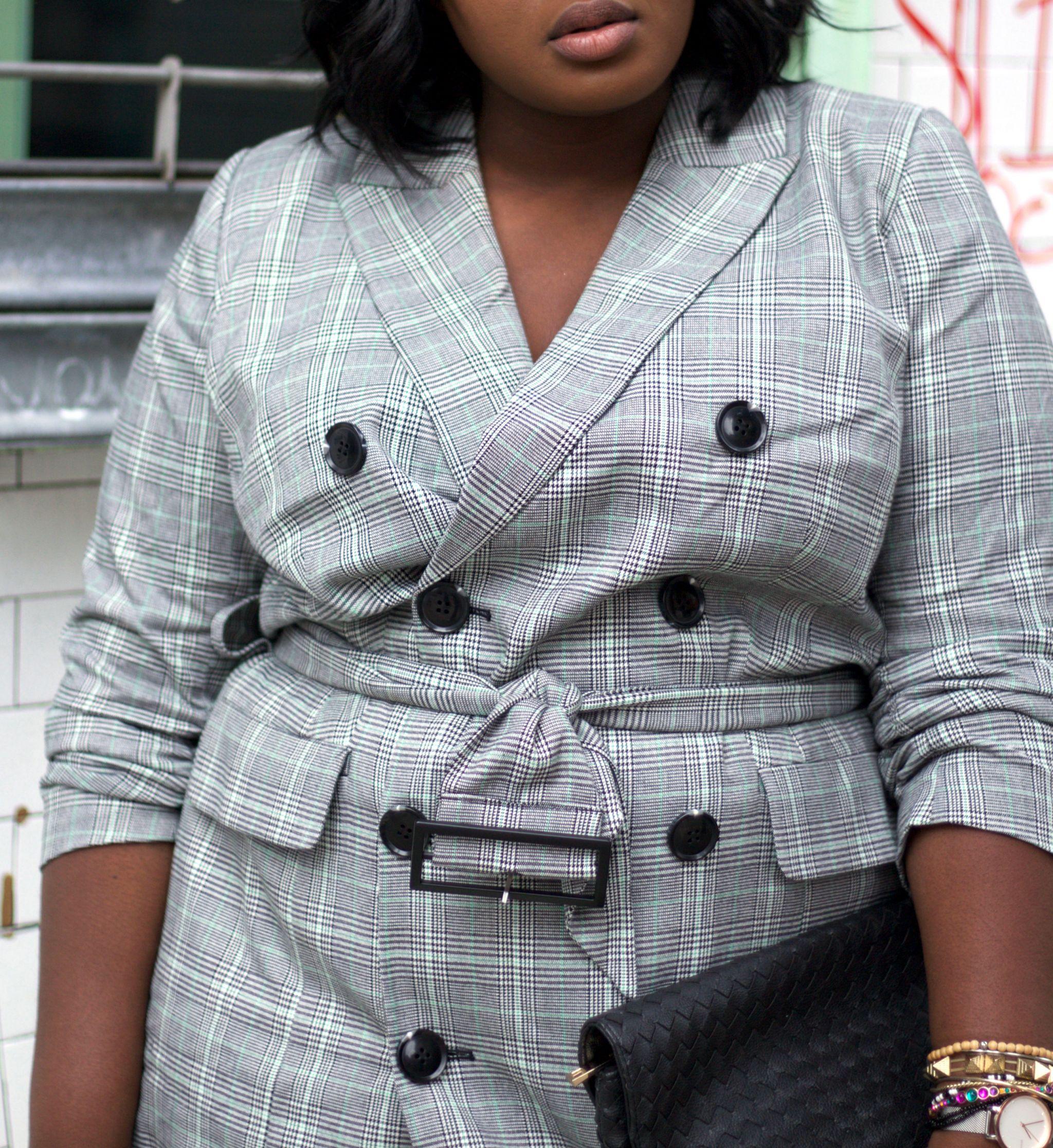 Plaid blazer dress NYFW