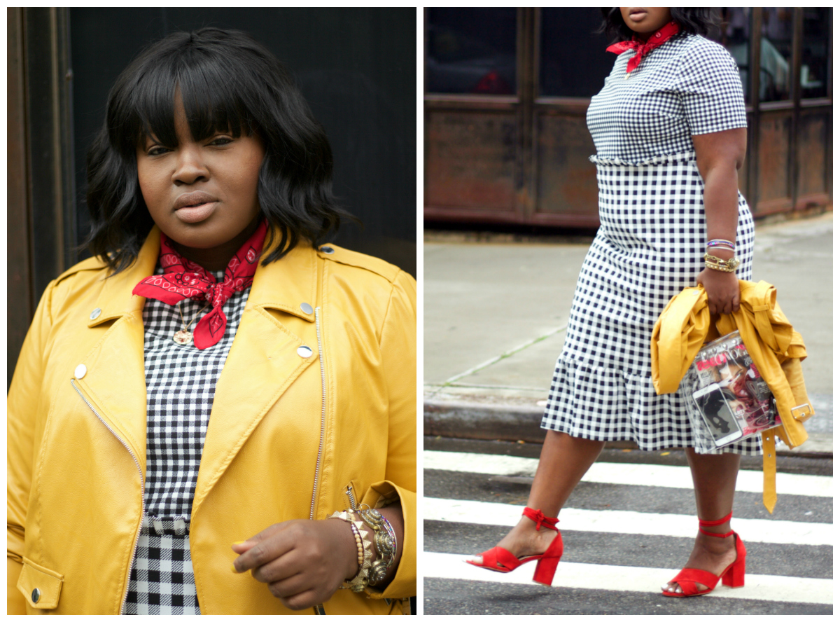 DOUBLE CHECK asos dress NYFW
