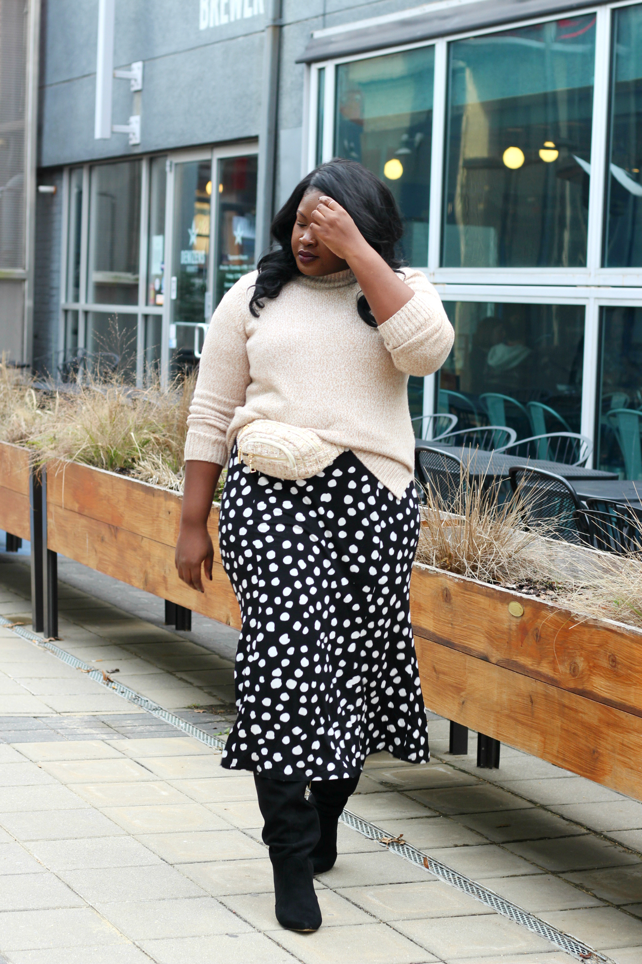 polka dot tee shirt dress outfit winter