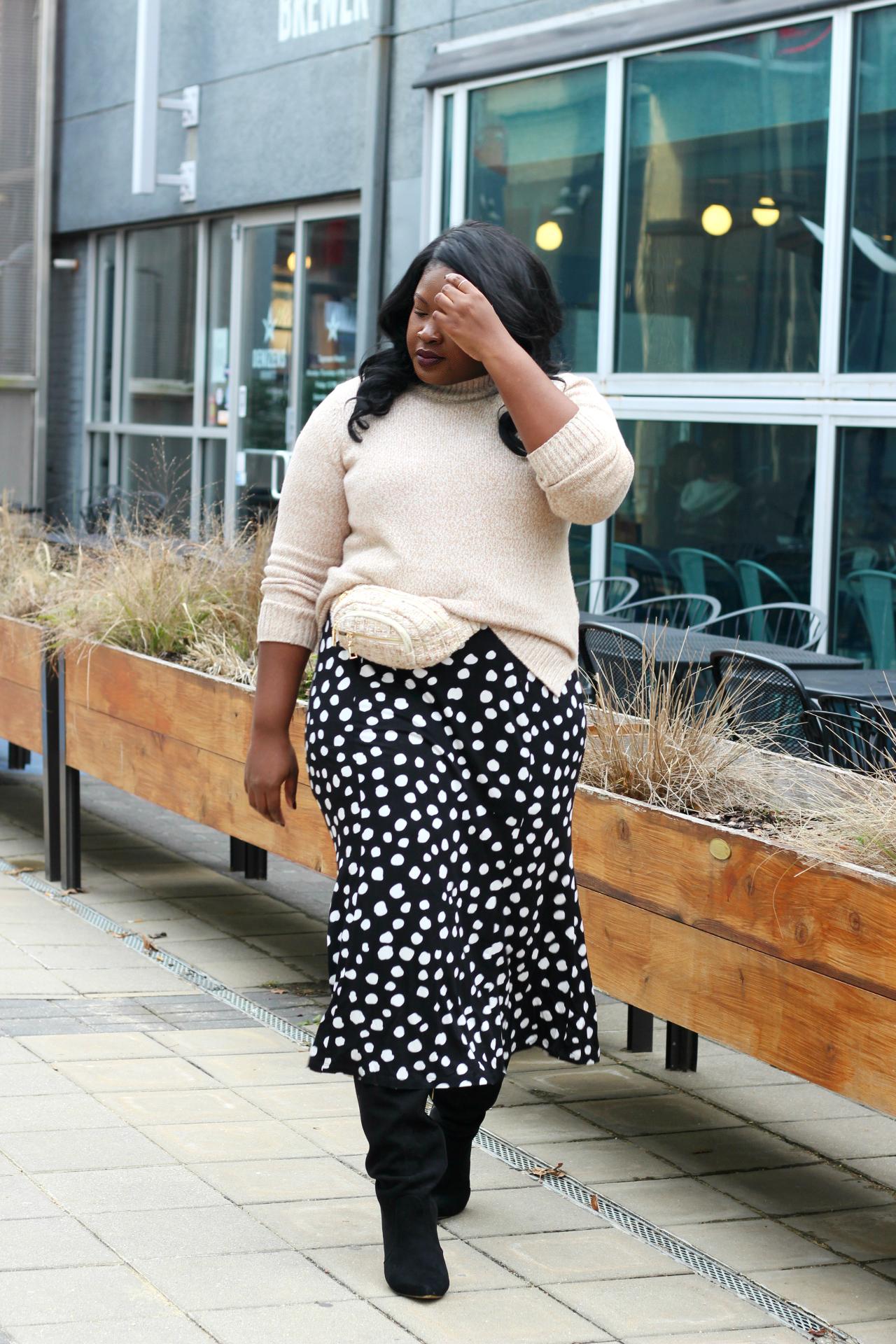 polka dot tee shirt dress outfit winter