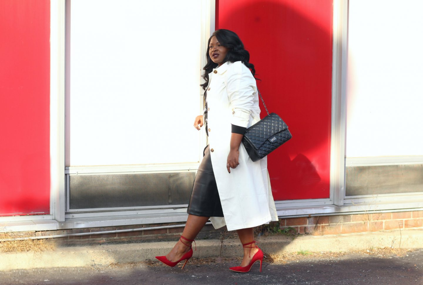 who what wear plus size leather skirt outfit winter