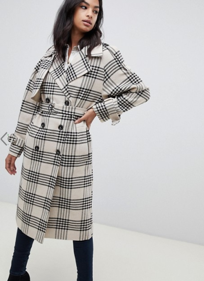 ASOS DESIGN check tab oversized coat