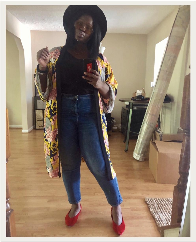 yellow kimono fall plus size outfit