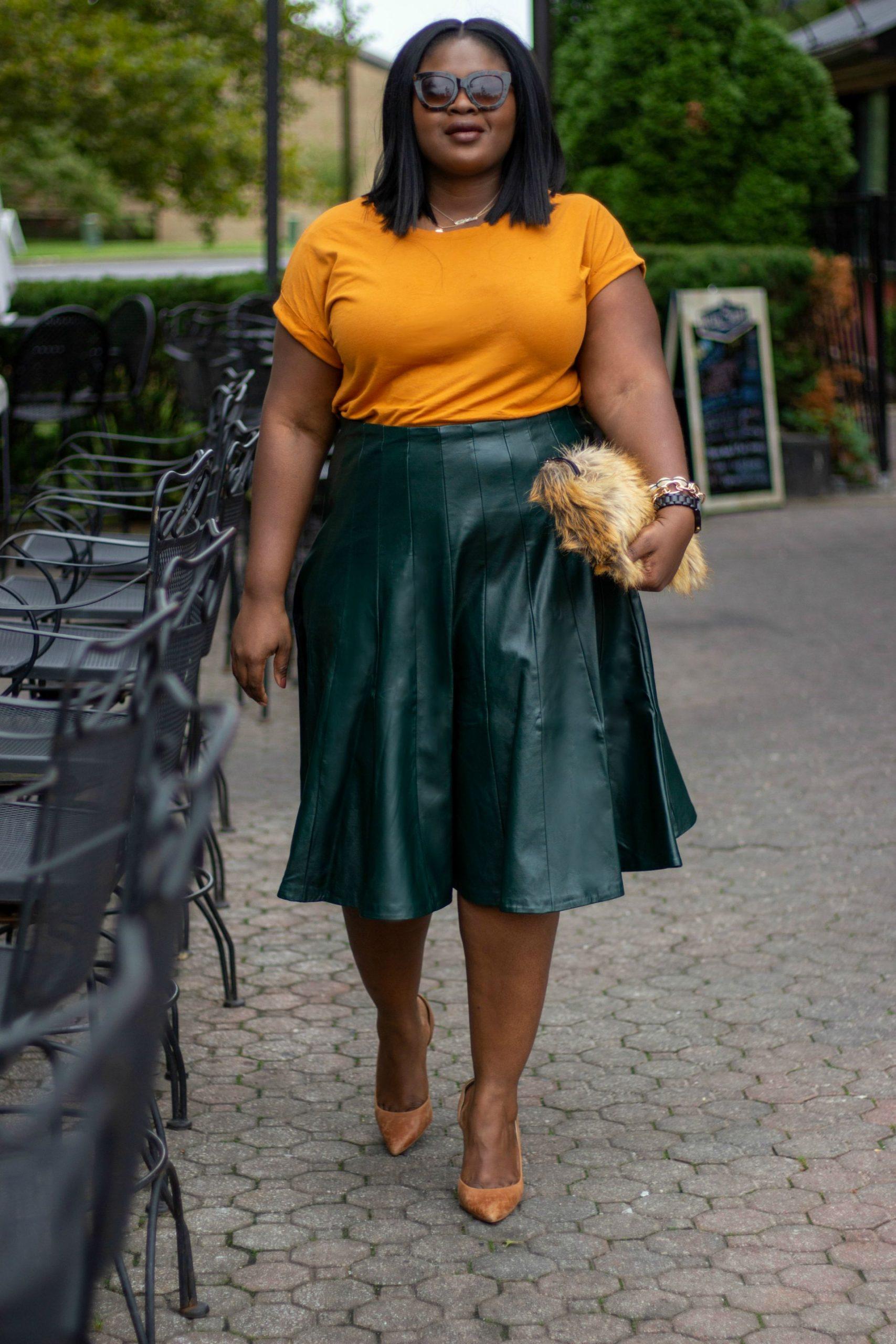 Green leather skirt fall Eloquii black friday sale picks